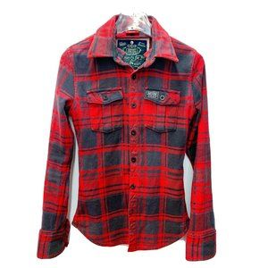 Superdry Heavy Flannel Button Down Red Plaid Shirt